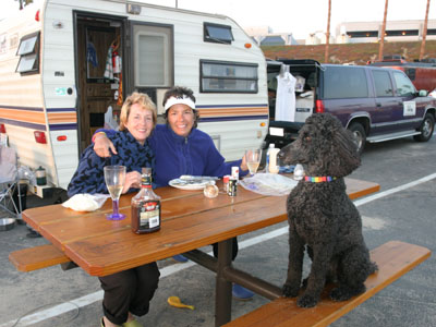 Dotti and Roby at their 'home in the hood,' their neighborhood at LA RV park